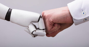 robot human fist bump fcard misc
